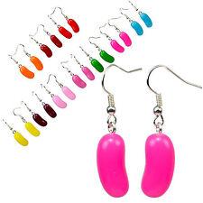 3D Juicy Candy Jelly Beans Dangle Earrings. Kawaii Food Fruity Sweets Theme.