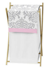 Sweet Jojo Designs Baby Kids Clothes Laundry Hamper For Pink Gray Damask Bedding