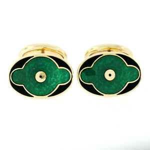 Vintage Mens 18k Yellow Gold Oval Shaped Green Black Guilloche Enamel Cuff Links