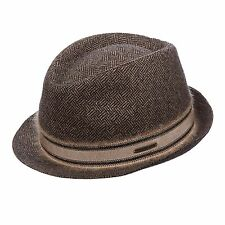STETSON GERMANY LENOX BASKET WEAVE BROWN TRILBY FEDORA M 57cm 100% Virgin Wool