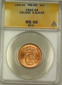 1942 Iceland 5A Five Aurar Copper Coin ANACS MS-66 Red GEM BU (D)