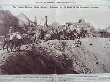 1917 BRITISH PACK-TRANSPORT SKIRTING GERMAN MINE CRATER DOUBLE PAGE WWI WW1