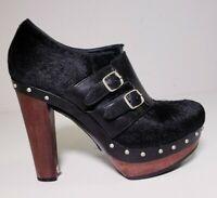 Ugg Illana Black Calf Hair Leather Platform Sheepskin Lined Booties! Size 8