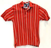 Tommy Hilfiger Polo Shirt Men Striped Cotton Short Sleeve Size Large