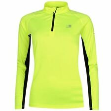 Ladies Karrimor Hi Viz Running Jersey Top 1/4 Zip Long Sleeve Shirt Yellow Fluo