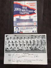 1958 Minneapolis Miller's Program -Metropolitan Stdm. v. Denver & Team Pic Nice!