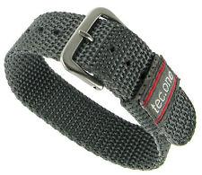 20mm Tec One Gray Woven Sport Fabric Strap Wrap Nylon Mens Watch Band 5118