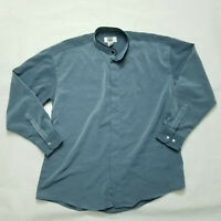 VINTAGE City Streets Button Shirt 100% Polyester  Blue  Mens Size Large