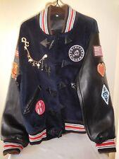 New OPENING CEREMONY Appliqued Corduroy & Leather Varsity Bomber Jacket - Large