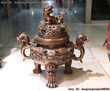 Chinese Bronze Copper Dragon Play Bead Kylin Foo Dog Lion Incense Burner Censer