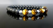 Ladies Matte Black Onyx and Tigers Eye Bracelet Sterling Silver