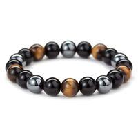 8/10mm Tiger Eye Hematite  Black Obsidian Stone Bead Bracelet Men Bracelet #zh