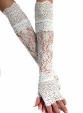 MADAME FANTASY WHITE XX LONG LACE FINGERLESS GLOVES CUFFS ARM WARMERS