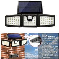 74LED 3 Head Solar Motion Sensor Light Outdoor Garden Wall Security Flood Lamp