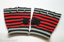 Boy Girl Stretchy Knit Red Stripe Gloves Fingerless Mittens Glove Pair