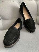 Ladies Womens Evans Black Flat Wedge Platform Loafers Shoes Extra Wide New 8