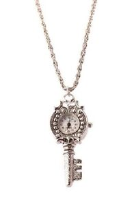 New Vintage Silver Plated Ncklace Watch Key Shape Dial Japanese Movement