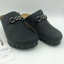 """Papillio Women's Black Oiled Leather """"Daisy"""" Wedge Mules US Size 8 Narrow Fit"""