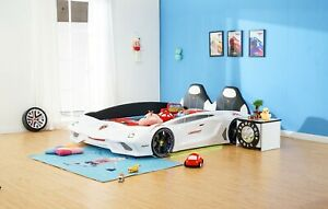 Kids Car bed1.2M open door white Luxury Super Race Car Bed With Music LED Light