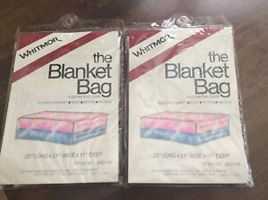 """Two Whitmor Blanket Storage Bags Protective Covers 25x21x11"""" Unopened Packages"""