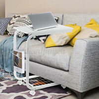 Rolling Laptop Desk with Basket C-Shaped Sofa Side End Table Coffee Snack Tray