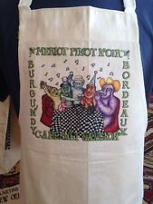 """THIRSTY MONKEYS"" APRON  Jamie Hayes NEW ORLEANS, RED WINE, MERLOT, PINOT NOIR"