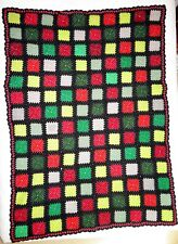Crochet Granny Square Afghan Blanket Couch Bed Throw Black Hand Made 50 x 68