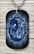 "BLUE YIN AND YANG WITH DRAGON AND TIGER DOG TAG PENDANT and ""FREE CHAIN"" -dr56th"