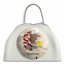 Rustic Illinois State Flag Distressed Usa White Cowbell Cow Bell Instrument
