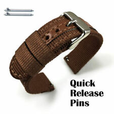 Brown Canvas Nylon Fabric Watch Band Strap Army Military Style Steel Buckle 3053