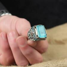 Solid Sterling 925 Silver Handcraft Jewelry Paraiba Tourmaline Men's Ring