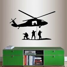 Wall Vinyl Decal Shooting Soldiers Military Service Men Helicopter Sticker 1795