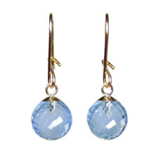 8mm SKY BLUE TOPAZ MICRO FACETED BEAD / BALL 9ct YELLOW GOLD DROP DANGLE EARRING