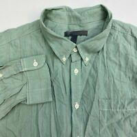 Old Navy Button Up Shirt Men's 2XL XXL Long Sleeve Green Striped Casual Cotton