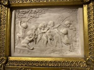 1800s Alabaster Marble Plaque Cherubs Shakespeare Scene Masterful Carving