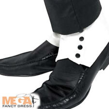 Spats White With Black Buttons Adult Smiffys Fancy Dress Costume Accessory