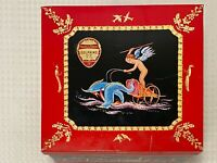 "Vintage HUNTLEY & PALMERS Large 9"" Square Dolphins Biscuit Tin Cherub Angels"