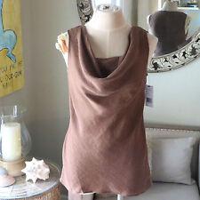 *NEW* Lafayette 148 Cocon Brown Linen Sleeveless Drape Cowl Top. 4 Small NWT