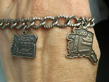 Vintage Silver Charm Bracelet 7 1/4 long w 2 Charms Oregon Alaska 16.6 Grams