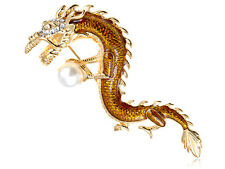 Faux Pearl Pin Brooch Jewelry Crystal Elements Majestic Serpent Dragon Holding