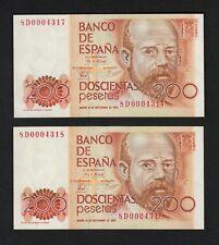 F.C. PAREJA CORRELATIVA 200 PESETAS 1980 , SERIE 8D , EBC .