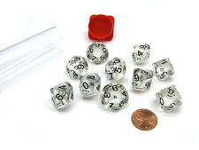Pack of 10 Transparent 10 Sided D10 16mm Dice - Clear