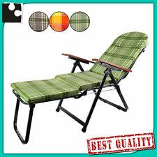 SEDIA a SDRAIO pieghevole con cuscino e poggiapiedi poltrona relax casa giardino