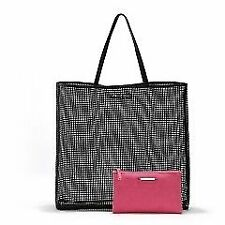 #CRZYHeart Victoria's Secret Mesh Tote w/ pouch Open Shopper/Beach/Tote - BLACK