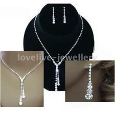 Prom Wedding Bridal Jewelry Silver Diamante Crystal Drop Necklace Earrings Set