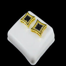 Earring Stud Micropave 12 Mm Screw Back Men Ladies Square Kite Style Gold Finish