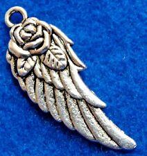 50Pcs. WHOLESALE Tibetan Silver ANGEL Wing w/ Rose Flower Charms Ear Drops Q1108