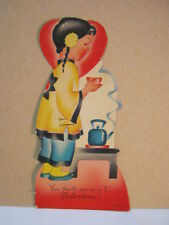 Vintage Valentine You Thrill me to a T  Die Cut Card U.S.A.  T*