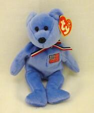"2001 TY BEANIE BABIES 8.5"" Blue AMERICA Bear in Memory of 9-11 TRAGEDY"