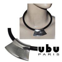 UBU PARIS Collier jonc en cuir brun et pendentif ethnique plaqué argent bijou